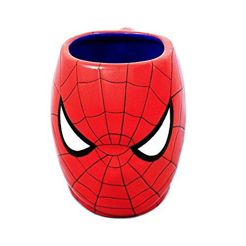 Silver Buffalo MC7095 Marvel Spiderman Face 3D Ceramic Mug, Red