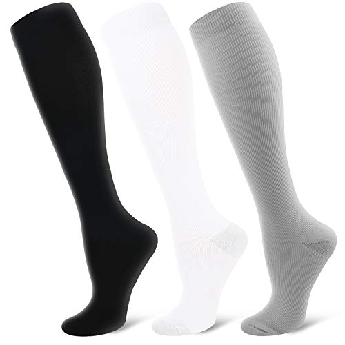 Bluemaple Compression Socks for Women & Men - Best for Running, Athletic Sports, Crossfit, Flight Travel -Maternity Pregnancy, Shin Splints - Below Knee High