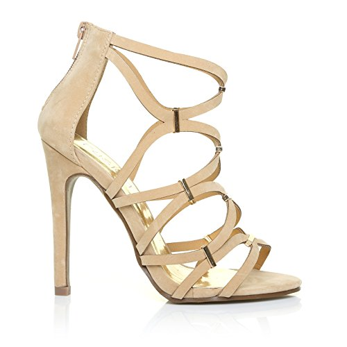 LEZ Nude Faux Suede Caged High Heel Stiletto Prom Party Shoes