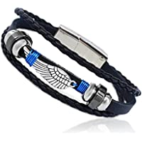 EAGLE Wing Feather Wire Wrapped Vintage Genuine Leather 3 Strand Unisex Bracelet 8.2