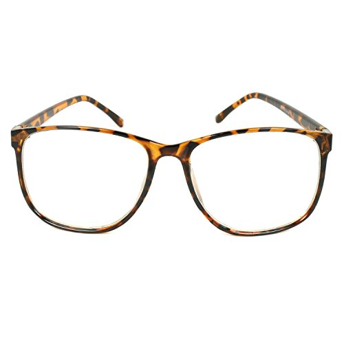 MLC EYEWEAR ® Panto Oversized Thin Frame Nerd Fashion Glasses - Glasses Havana