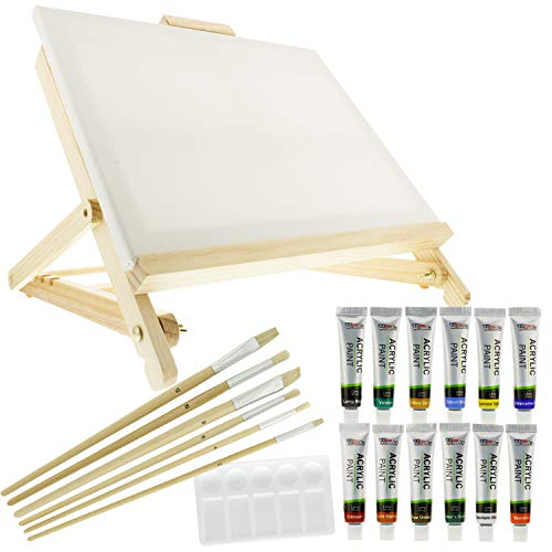 US Art Supply 21-Piece Acrylic Painting Table Easel Set with, 12-Tubes Acrylic Painting Colors, 11x14 Stretched Canvas, 6 Artist Brushes, Plastic Palette with 10 Wells