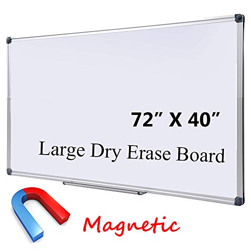 Large Magnetic Dry Erase Board with Pen Tray| Wall-Mounted Aluminum Message Presentation Whiteboard for Kids, Students & Teachers (72