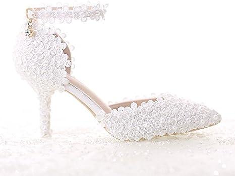 Scarpe Sposa Tacco 7 Cm.Vivioo Tacchi Alti Perla Bianca Pizzo Scarpe Da Sposa Punta Con