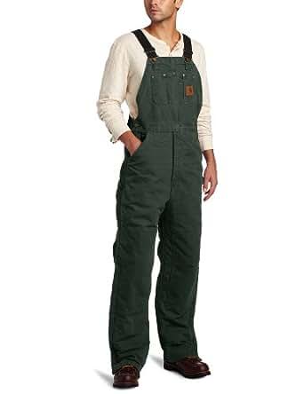 Carhartt Men's Quilt Lined Sandstone Bib Overalls,Moss,32 x 28