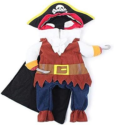 ZZM Gato Disfraz de Halloween Pirata, Ropa Divertida para Mascotas ...