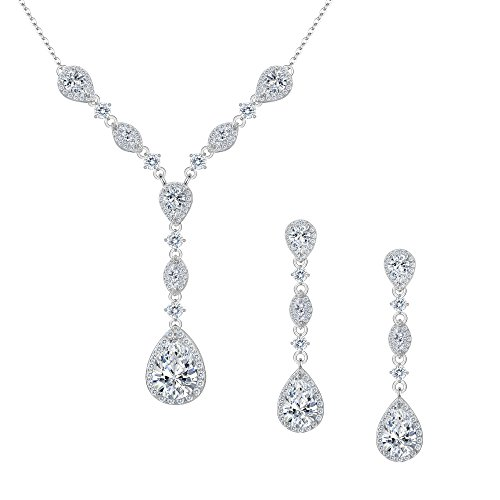 FANZE Women's Full Prong Cubic Zirconia Teardrop Pear Shape Y Necklace Pierced Earrings Wedding Jewelry Set Silver-Tone (Pendant Pierced Jewelry)