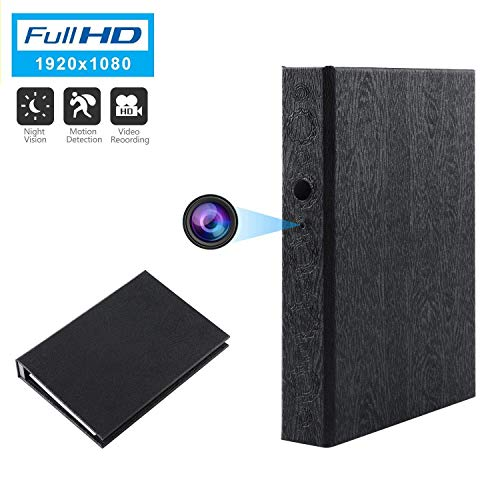 Spy Camera Book Hidden Camera HD 1080P Nanny Camera Covert Home Security Cam Motion Detection Video Recorder 10000mAh Battery Super Night Vision (A)