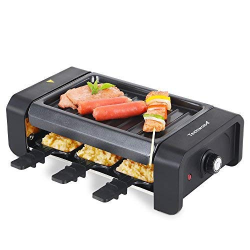 Techwood Mini Raclette Grill for 6-Person, Electric Indoor Grill with Nonstick Coating, Black