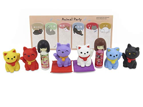 (Cat and Doll Japanese Mini Puzzle Erasers (10) and Cat Page Markers Stickers (90 Total) - Perfect 11 Piece Set )