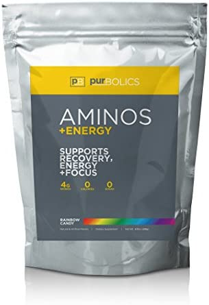 Purbolics Aminos Energy Supports Recovery, Energy Focus 95mg of Caffeine, 0 Calories 60 Servings Rainbow Candy