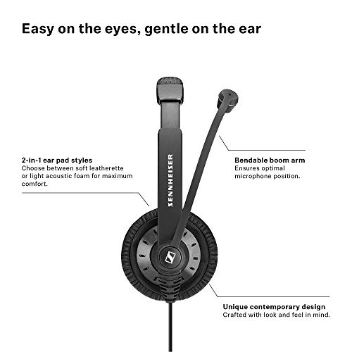 Sennheiser SC 45 USB MS (507083) - Single-Sided Business Headset | For Skype for Business, Mobile Phone, Tablet, Softphone, and PC | HD Sound & Noise-Cancelling Microphone (Black) by Sennheiser Enterprise Solution (Image #3)