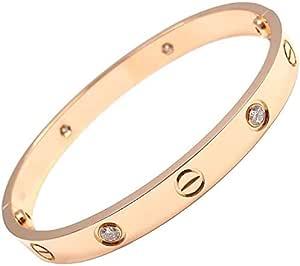18K Gold Plated Screw Design Crystal Bracelet Bangle