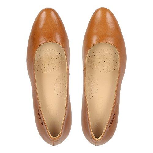 Smuck Womens Schuhe Court ZWEIGUT 214 Cognac 6Pxg5B