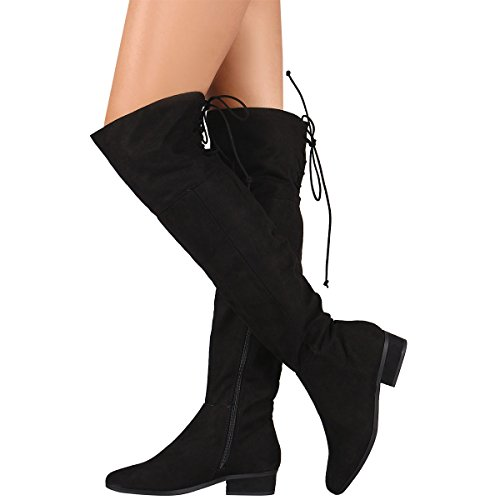 Bamboo Womens Pointy Toe Lace Up Fold-Able Cuff Vegan Suede Over The Knee High OTK Riding Boot Black sVVyR7afMV