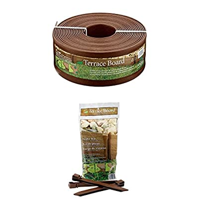 Master Mark Plastics 95340 Terrace Board Landscape Edging Coil, 5-inch x 40-Foot, Brown WITH Master Mark Plastics 99310 Terrace Board 10 Inch 10 Pack, Brown Stakes,