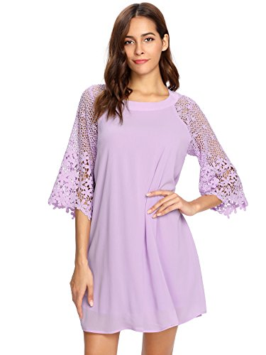 MAKEMECHIC Women's Casual Crewneck Half Sleeve Summer Chiffon Tunic Dress Purple S