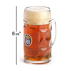 Bring the Oktoberfest celebration to your home any time of the year with this officially licensed .5 Liter HB Munchen Dimpled Glass Beer Stein. This nearly 2 lb. heavyweight glass stein is imported from Germany, stands 6 3/8 inch tall and is ...