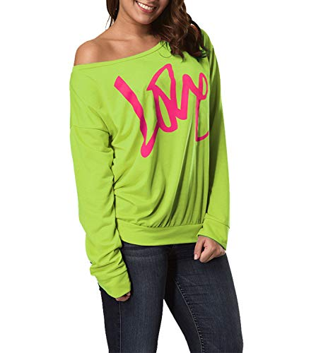 Smile fish Women's Casual Love Printed Sweatshirts Off The Shoulder Slouchy Shirt (Love Neon Green, -