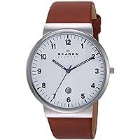 Skagen Men's 'Klassik' Quartz Stainless Steel and Leather Dress Watch, Color:Brown (Model: SKW6082)