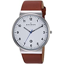 Skagen Men's Ancher Quartz Stainless Steel and Leather Casual Watch, Color: Silver-Tone, Brown (Model: SKW6082)
