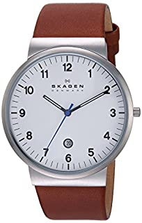 Skagen Men's Ancher Quartz Stainless Steel and Leather Watch Color: Silver, Brown (Model: SKW6082) (B00FWXARMQ) | Amazon Products