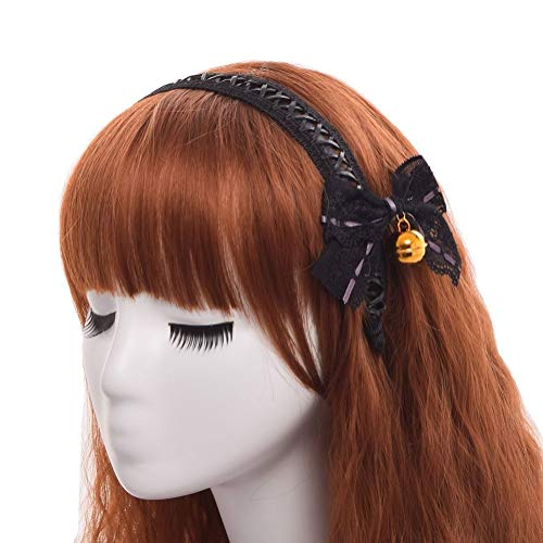Lace Up Wig - 1pc Cute Girl Black Lace-up Hair Band Bowknot Bell Hair Clip Lolita Headwear
