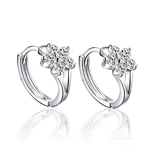 Sannysis Fashion Women Silver Plated Crystal Rhinestone Stud Earrings