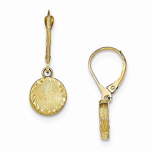 14k Yellow Gold Brushed Polished & Diamond Cut Circle Leverback -
