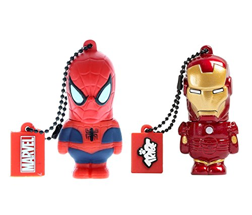 Price comparison product image Mozlly Value Pack - Tribe Marvel Iron Man The Avengers Pendrive Figure 8GB USB Flash Drive AND Spider-Man Figure 8GB USB Flash Drive (2 items) - Item K123004-123005