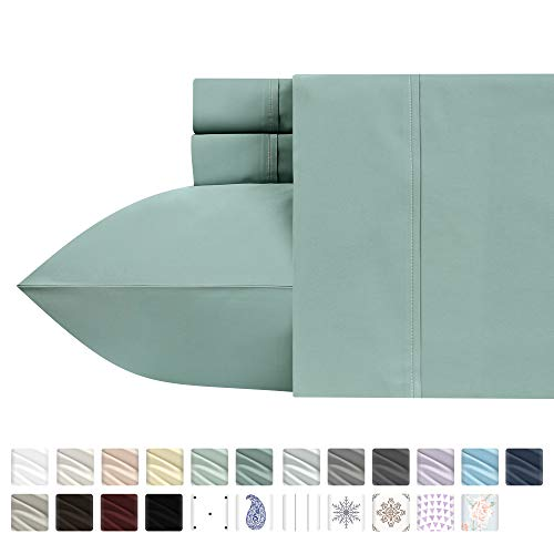 Luxury 400-Thread-Count 100% Pure Natural Cotton Sheet Sets - 4-Piece Green Sage Full Size Sheet Set Long-Staple Premium Cotton Yarns Hotel Quality Fits Mattress Upto 18'' Deep Pocket