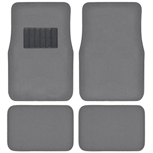 BDK Classic Carpet Floor Mats for Car & Auto - Universal Fit -Front & Rear with  Heelpad (Medium Gray)