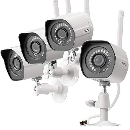 Zmodo Wireless Security Camera System (4 Pack) Smart HD Outdoor WiFi IP Cameras with Night Vision