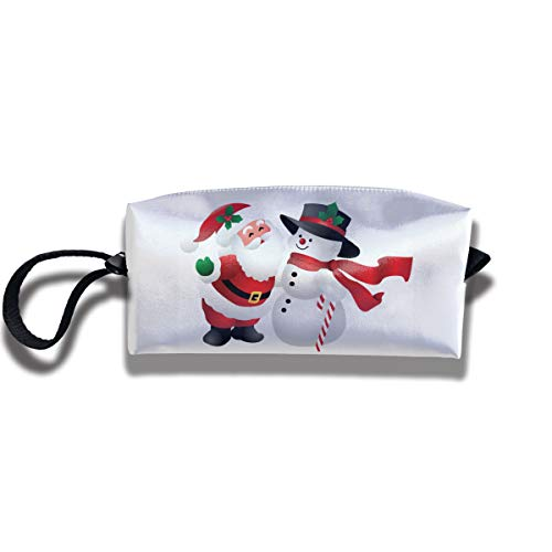Snowman Clipart - Cosmetic Bags With Zipper Makeup Bag Cute Christmas Clipart Snowman Middle Wallet Hangbag Wristlet Holder
