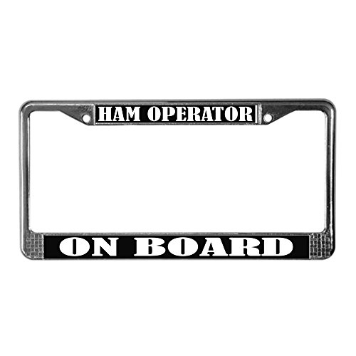 (CafePress Black Ham Radio Chrome License Plate Frame, License Tag Holder)