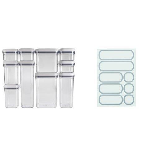 OXO Good Grips 10-Piece POP Container Set, White and OXO Good Grips Removable Labels for POP Containers Bundle