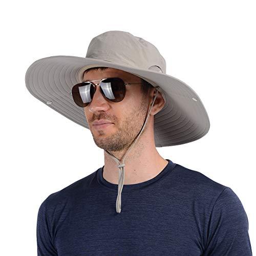 USHAKE Super Wide Brim Fishing Hat Bucket Hat, Safari Hat UPF 50+ Sun Protection Hat Boonie Hat Cap for Men or Women Outdoor Fishing Hunting Gardening Hiking Camping Farming (Best Boonie Hat For Sun)