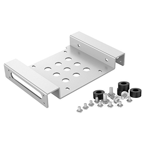 ORICO Aluminum 5.25 inch to 2.5 or 3.5 Inch Bay Adapter Internal Hard Disk Drive Mounting Kit with Screws and Shock Absorption Rubber Washer- Silver ()