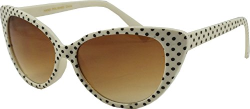 Revive Eyewear Men's Polka Dot Cat Eye Retro White Frame/ Black Lens Non Polarized Sunglasses - Eye Sunglasses Uk Cat White