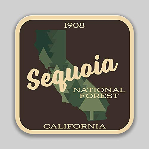 (JMM Industries Sequoia National Forest California Vinyl Decal Sticker Car Window Bumper 2-Pack 4-Inches 4-Inches Premium Quality UV -Protective Laminate PDS1462)