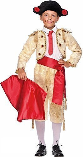 8 Piece Italian Made Super Deluxe Baby + Older Boys Gold Spanish Matador Bull Fighter Around The World Carnival Fancy Dress Costume Outfit 0-10 Years (10 -