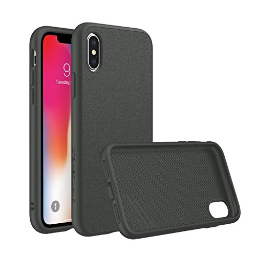 RhinoShield Case for iPhone X [SolidSuit] by Shock Absorbent Slim Design Protective Cover with Premium Matte Finish [3.5M / 11ft Drop Protection] - Microfiber/Graphite