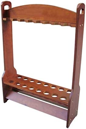 HSBAIS キューラックフロアスタンド、木 プロンプトのみ 収容可能 16 穴 プールの手がかり プールキューラック インストールが簡単,53x63cm
