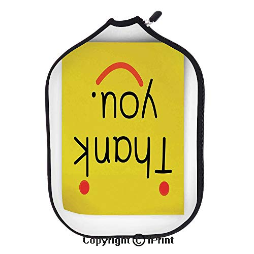 Neoprene Pickleball Paddle Racket Cover Case Lightweight Durable,Thank You Emoji Decor On Notepaper Sticky Post It Yellow Smiley Face Print(size:8.23