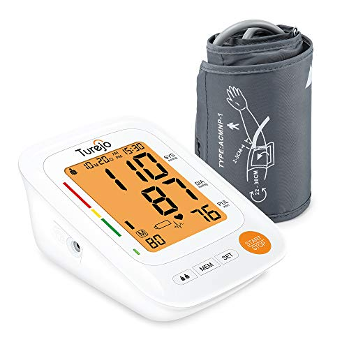 TUREJO Blood Pressure Monitor Accurate Automatic Upper Arm Bp Machine & Pulse Rate Monitoring Meter with Cuff 22-36cm, 2×90 Sets Memory, LCD Backlight & LED light - Device Bag & 4AAA Included