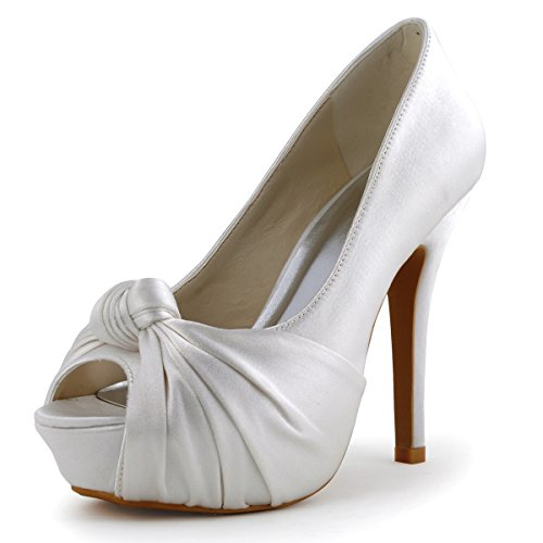 (ElegantPark EP2071-IP Women's Peep Toe High Heels Pumps Knot Pleated Platforms Satin Wedding Bridal Shoes Ivory US 9)