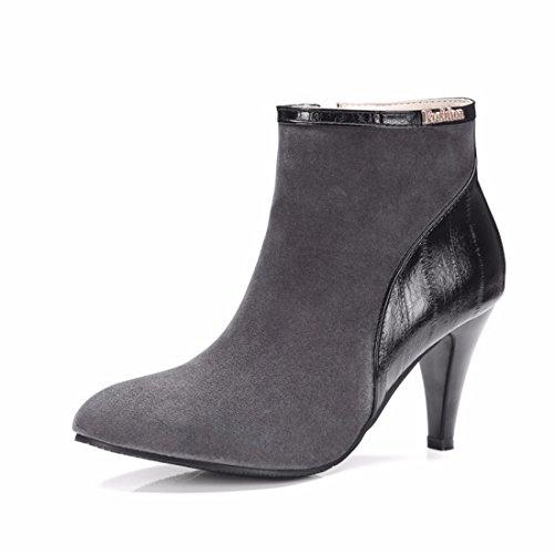 botas y invierno fino altas alto código tacón botas Botas Grey Terry de de de wgBqSRT