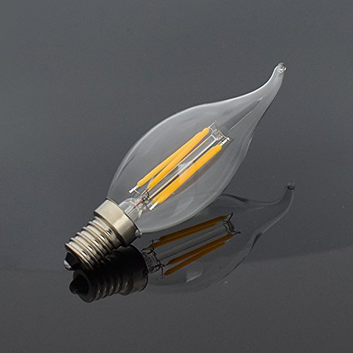 YCDC 6X E14 8W Dimmable Filament LED Light C35 Flame Drawing Lampada Cool White