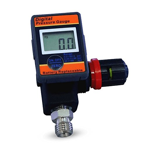 Lematec Digital Air Flow Gauge Regulator with Locking Adjustment Valve, Air Flow Control Valve, 1/4 Inch Universal Thread Male Inlet Fitting, Works with All Air Tools and Air Compressors