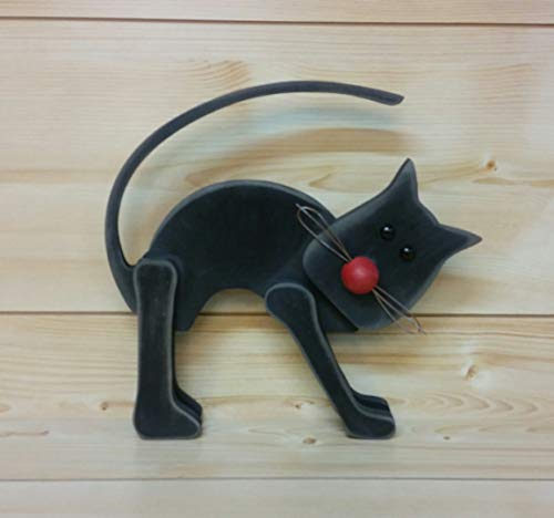 Primitive Black Cat - Wooden Primitive Black Cat - Folk Art Cat - Wooden Black Cat - Primitive Decor - Halloween Decor - Wiccan Decor ()